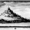 EAST VIEW OF ST MICHAELS MOUNT IN THE COUNTY OF CORNWALL A SEAT OF SIR JOHN AUBYN Bart to WHOM THIS PLATE etc etc WITH CREST