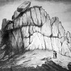 A VIEW OF THE CELEBRATED LOGAN ROCK NEAR THE LANDS END IN CORNWALL . TAKEN AFTER THE ROCK WAS DISPLACED ON 8th APRIL 1824